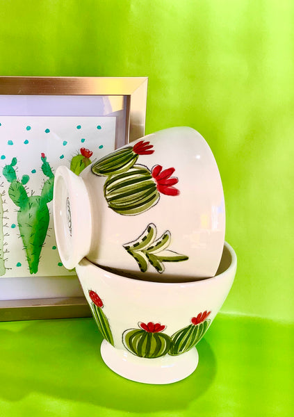 two Coffe bowls with a nice hand painted cactus and succulent design.