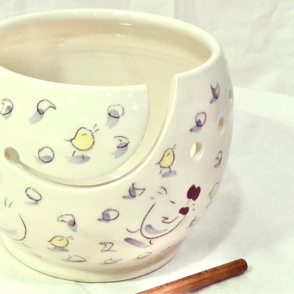 knitting bowl, Yarn Holder, perfect knitting gift with a hand painted design with chickens