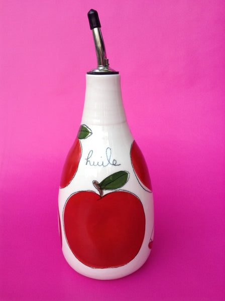 Bouteille d'huile ou vinaigre The Oil  or Vinegar Bottle with red apple paterns