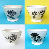 Coffee bowl white, Amsterdam collection with flowers