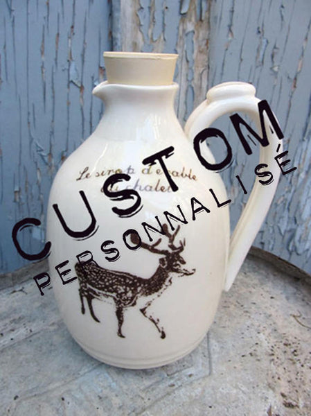Jug for maple syrup CUSTOM ORDER with Your personnal touch!!!