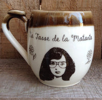 "Hipster mugs for your auntie and your uncle with a french inscription ""la tasse de la Matante et du Mononc'"". The price is for the pair"