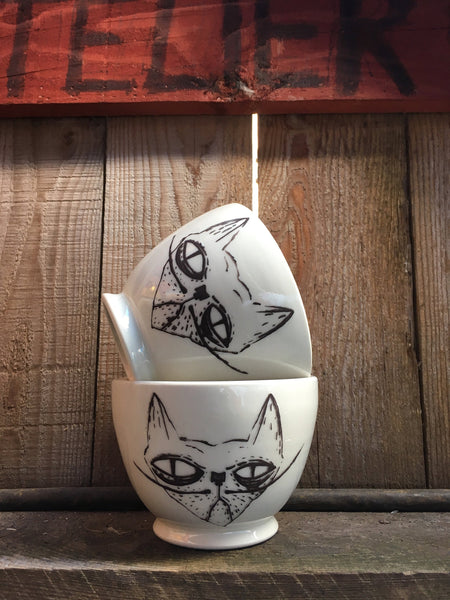 The grumpy cat bowl. For your cat lover gift. Made with high quality porcelain.Price for two