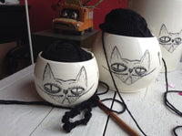 Yarn bowl with a grumpy cat - Knitting Bowl With Holes for knitting needles - Crochet Yarn Holder Bowl