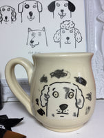 Le mug du chien sale,Funny dog mug with two different illustrated dogs.  made of hand-thrown porcelain clay