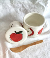 The french butter dish, with hand painted apples, handmade butter crock