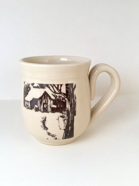 "The sugar shack mug "" made of hand-turned porcelain clay with an original illustration"