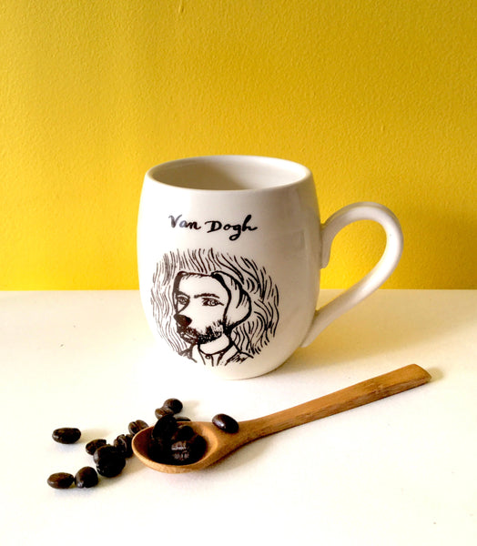 "Vincent Van Gogh inspiration mug, dog design with an inscription ""Van Dogh"" left handed or right handed available"