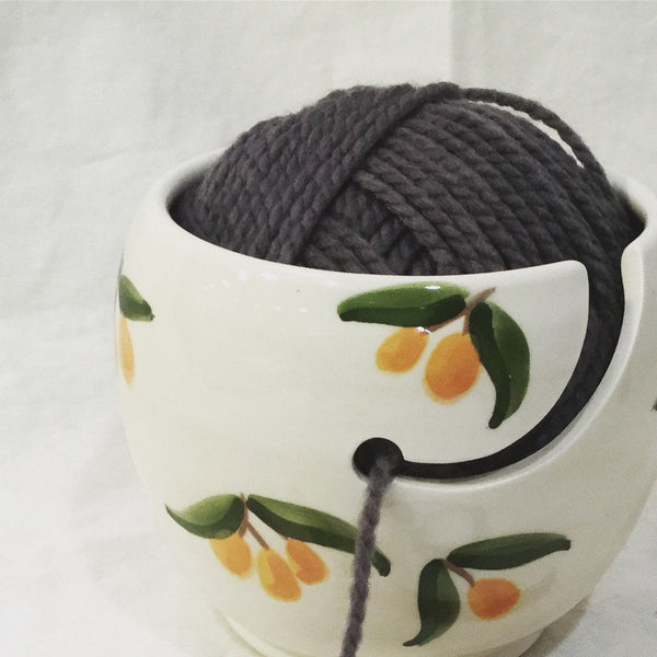 knitting bowl, Yarn Holder, soft peaches pattern,perfect knitting gift