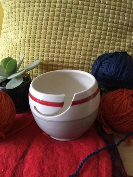 Small crochet or yarn bowl for crochet or knitting with grey socks inspiration