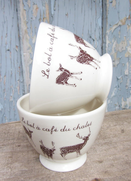 Bol Café au lait avec inscription française le bol à café du chalet (prix pour un bol). Café au lait bowl with french inscription le bol à café du chalet (price for one bowl)