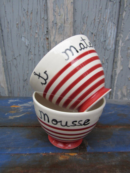 "Handmade ceramic Café au lait bowl with french inscription ""Matelot"" and red stripes"