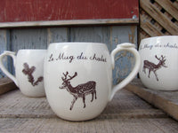 Le Mug du Chalet. Coffee mug for the cottage. French pottery with inscription. Deer design  and fir branch patterns