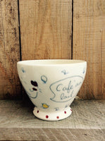 Hens and chickens. Coffee bowls made of porcelain. Bowl with french inscription «bol à café»