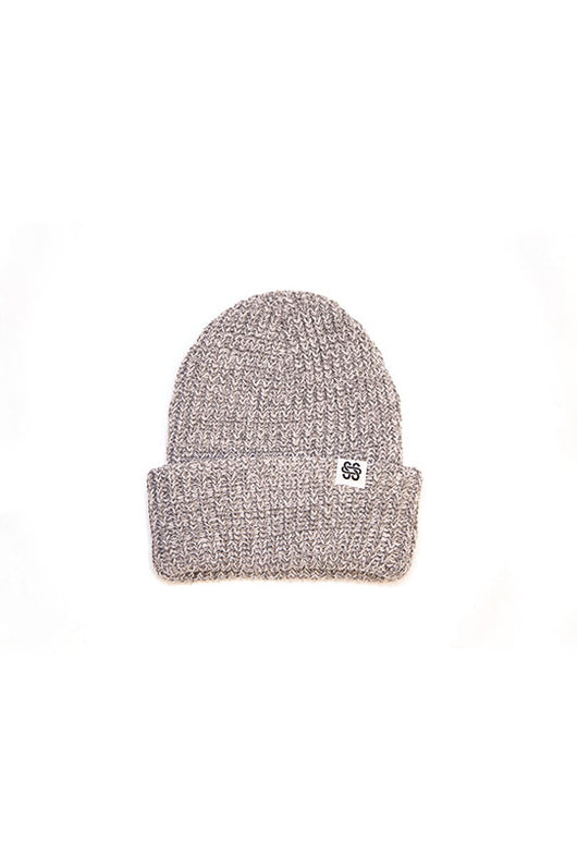 Chunky Knit Grey Speckled SOS Beanie
