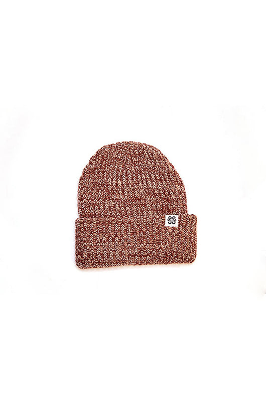 Chunky Knit Maroon Speckled SOS Beanie