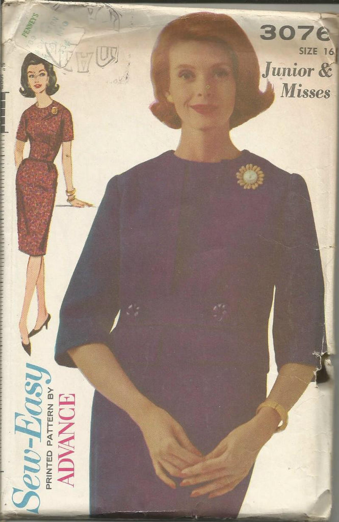 1960s Sheath Dress with Short Sleeves and Jacket Easy to Sew Advance 3076 UNCUT FF Bust 36 Women's Vintage Sewing Pattern