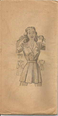 1940s Playsuit Romper Shorts Skirt Shirt Anne Adams 4805 UNUSED Bust 38