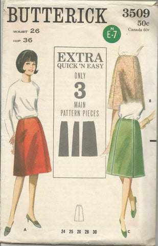 1960s Women's A-Line Skirt Three Styles Easy to Sew C/C Butterick 3509 Waist 26 Women's Vintage Sewing Pattern