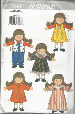 1990s Doll/Doll Clothes/Carrying Case Butterick 3668 UNCUT FF Vintage Sewing Pattern