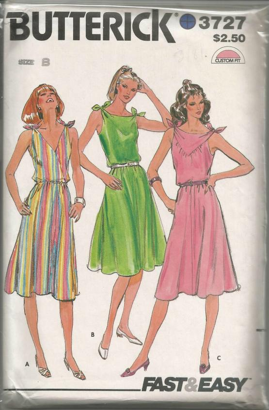 1970s Sleeveless Sundress Knotted Shoulder Ties V Neck or Bateau Neckline Flared Skirt Easy to Sew Full Figure Plus Size Butterick 3727 UNCUT FF Bust 36/38/40