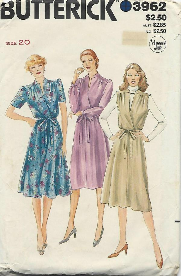 1980s Mock Wrap Dress or Jumper & Belt Sleeve Variations Butterick 3962 Size 20 Bust 42 Women's Plus Size Vintage Sewing Pattern