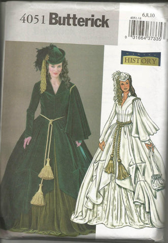 Scarlett O'Hara Green Drapery Dress Gone With the Wind Butterick 4051 UNCUT FF Sizes 6-8-10 Bust 30.5-32.5