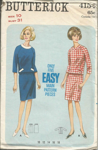 1960s Two Piece Dress Slim Skirt Overblouse with three Quarter Sleeves Bias Neck Band Easy to Sew Butterick 4154 UNCUT FF Bust 31 Women's Vintage Sewing Pattern