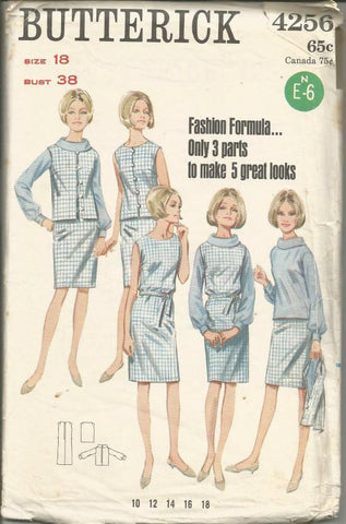 1960s Dress/Blouse/Jacket 3 Parts to Make 5 Great Looks Slim Skirt Sleeveless Jacket Full Figure Plus Size Butterick 4256 UNCUT FF Bust 38 Women's Vintage Sewing Pattern