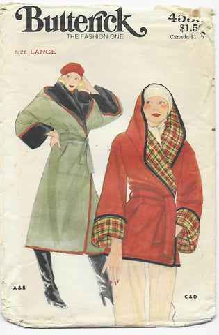 1970s Kenzo Reversible Jacket or Coat Butterick 4538 Bust 38-40