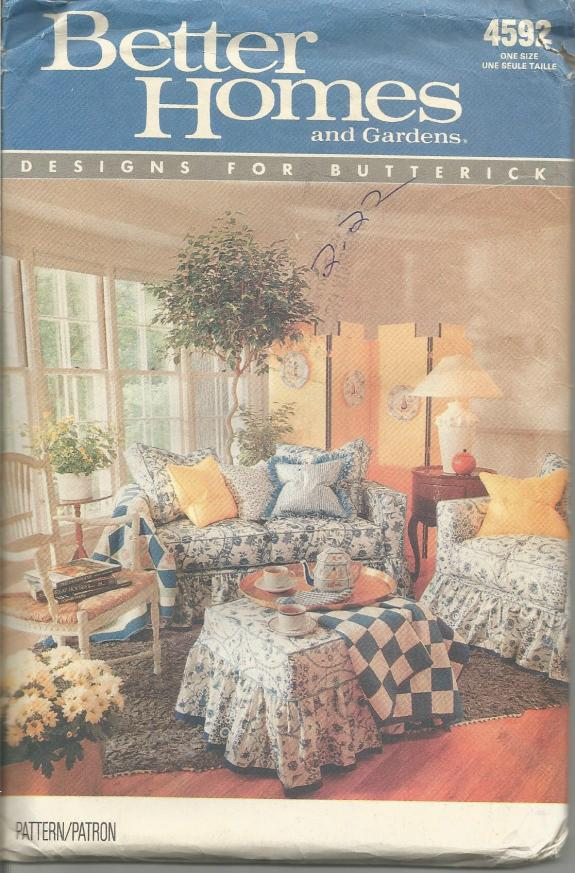 1990s Furniture Slipcovers Covers Sofa Chair Ottoman Butterick 4592 UNUSED FF Vintage Sewing Pattern