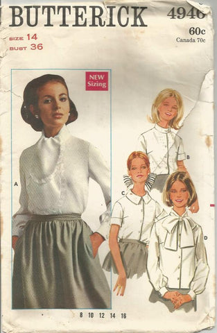 1960s Blouses Four Styles Long or Short Sleeves Butterick 4946 C/C Bust 36 Women's Vintage Sewing Pattern