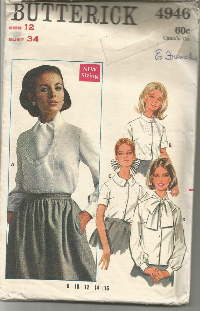 1960s Blouses Four Styles Long or Short Sleeves Butterick 4946 C/C Bust 34 Women's Vintage Sewing Pattern