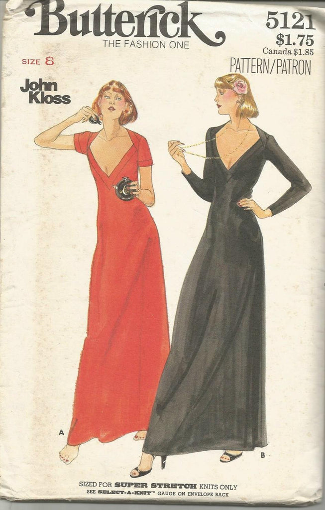1970s Evening Gown Plunging V Neckline Stretch Knits Only John Kloss Butterick 5121 UNCUT FF Bust 31.5