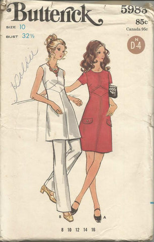 1970s A-Line Dress or Tunic & Straight Leg Pants Butterick 5983 UNCUT FF Bust 32.5 Women's Vintage Sewing Pattern