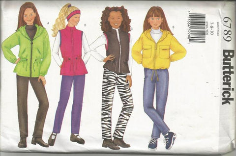 Girl's Jacket Vest Pants Headband Easy to Sew Butterick 6789 UNCUT FF Sizes 7/8/10 Girls' Sewing Pattern