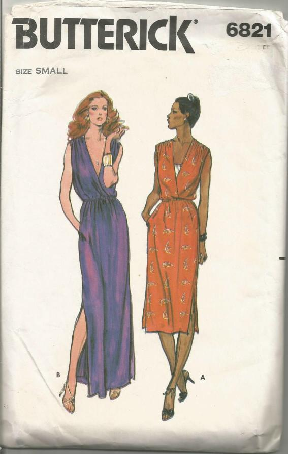 1970s Plunging V Neckline Evening or Day Dress Sleeveless Shirred Shoulders Butterick 6821 C/C Size Small Bust 31.5-32.5 Women's Vintage Sewing Pattern