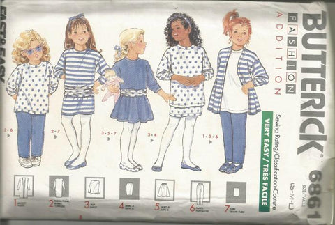 1980s Girls' Wardrobe Very Easy to Sew Jacket Dress Tunic Top Skirt Pants Tube Butterick 6861 UNCUT FF Sizes S-L 3-6X