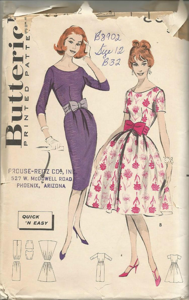 1950s Cocktail or Dance Dress Slim/Bouffant Skirt Scoop Neck Sleeve Variations Easy to Sew Butterick 8902 C/C Bust 32 Women's Vintage Sewing Pattern