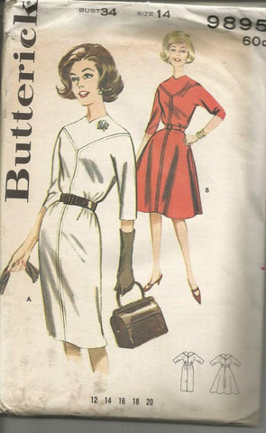 1960s Slim or Flared Skirt Dress Butterick 9895 UNCUT FF Bust 34