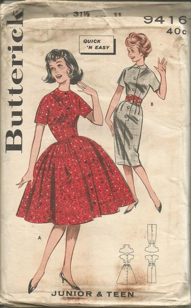 1960s Sheath Dress or Bouffant Skirt Quick & Easy Short Sleeve Shirtwaist Butterick 9416 UNCUT FF Bust 31.5 Vintage Sewing Pattern