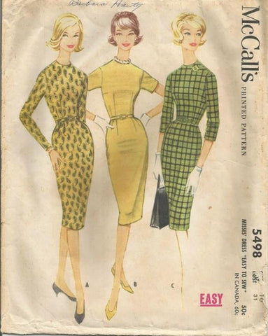 1960s Easy to Sew Sheath Dress Jewel Neckline Sleeve Variations McCall's 5498 Bust 31 Women's Vintage Sewing Pattern