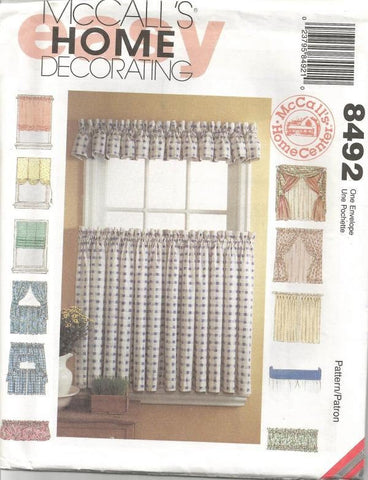 Home Decor Curtains  Drapes Shapes DIY Window Essentials DIY Home Decor McCalls 8492 Unused Window Treatments Booklet