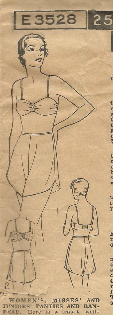 1930s Tap Panties Bandeau Bra Intimates Womens Underwear ORIGINAL Pattern Excella E3528 Size 18 Bust 36 Women's Vintage Sewing Pattern - Kinseysue's Shop