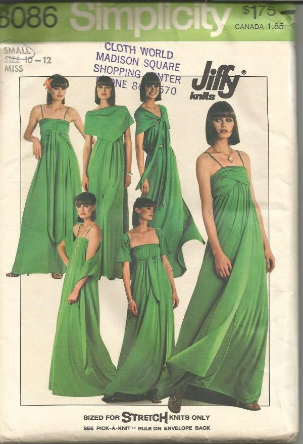 1970s Wrap Dress Evening Length Stretch Knits Only Jiffy Pattern Simplicity 8086 Uncut FF Bust 32-34 Womens Vintage Sewing Pattern