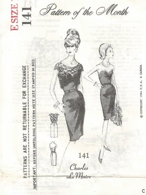 1960s Strapless Sheath Bolero Cocktail Dinner Evening Charles Le Maire Spadea 141 Size 16 Bust 38 Unused Women's Vintage Sewing Pattern