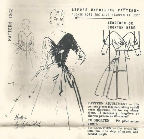 1950s Fit and Flare Cocktail Dinner Evening Surplice Bodice Full Skirt Spadea 1202 Unused FF Size 12 Bust 35 Women's Vintage Sewing Pattern