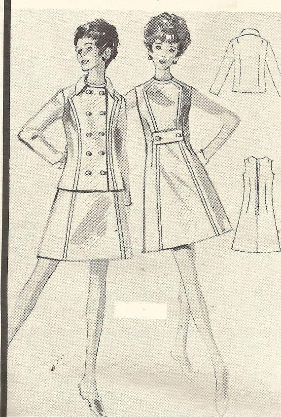 1960s Mod Style Sleeveless Dress Princess Seams Double Breasted Jacket Modes Royale E-2459 Unused FF Size 10 Bust 32.5 Women's Vintage Sewing Pattern