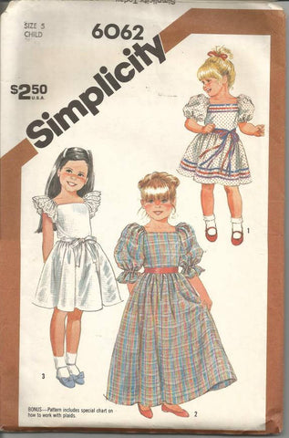 1980s Girl's Dress Pattern Square Neck Sleeve and Length Variations Simplicity 6062 Size 5 Breast 24 Girls' Vintage Sewing Pattern