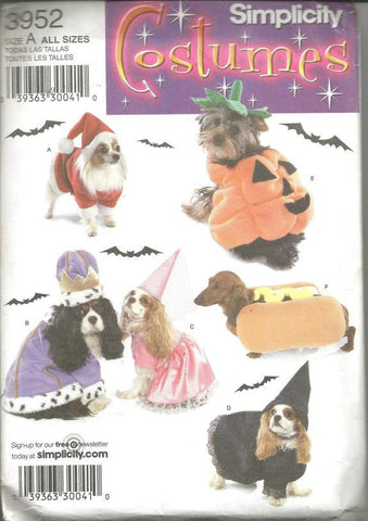 Dog Costumes Santa Jack-o-Lantern King Witch Princess Hot Dog Simplicity 3952 Uncut FF Sewing Pattern
